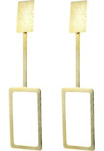 Brinco Piuka Geométrico Retangulo Vazado Escovado Mindy Dourado