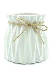 Vaso De Cerâmica - Geométrico - Branco - 13,5X10,5Cm