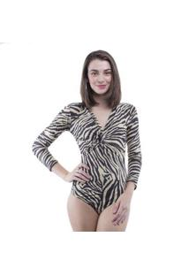 Body Manga Longa Animal Print Pop Me - Feminino-Preto