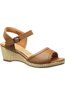 Sandália Couro Anabela 610 Doctor Shoes Feminina - Feminino-Bege