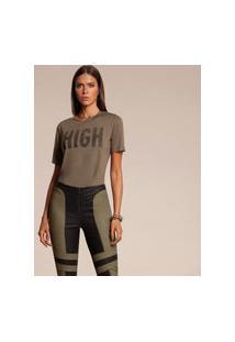 T-Shirt Acostamento Estampada Verde Militar