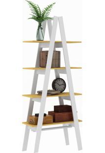 Estante Decorativa Escada Maior Rt 3048 Branco/Amarelo - Móvel Bento