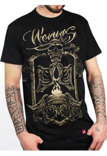 Camiseta Wevans Caveira Dourada Preto