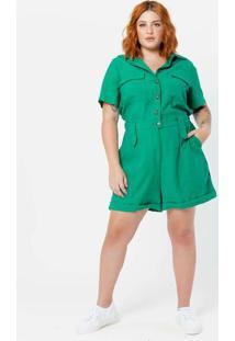 Macaquinho Plus Size Amplo Utilitário Verde