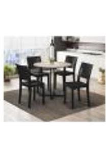 Conjunto Mesa De Jantar Com 4 Cadeiras Hydra Plus - Preto/Carvalho