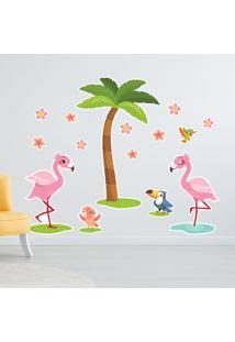 Adesivo De Parede Flamingos E Flores Para Quarto De Menina