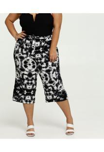 Calça Pantacourt Feminina Estampa Tie Dye Plus Size