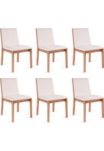 Conjunto Com 6 Cadeiras De Jantar Una Branco E Castanho