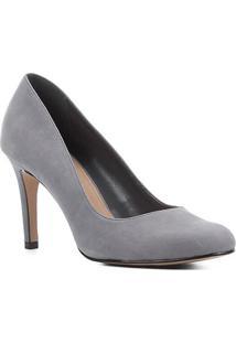 Scarpin Couro Shoestock Nobuck Salto Alto - Feminino-Cinza
