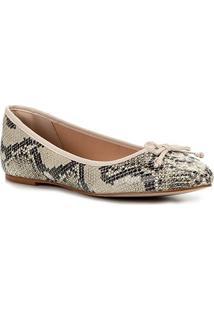 Sapatilha Couro Shoestock Cobra Laço Feminina - Feminino-Off White