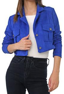 Jaqueta Cropped Dimy Bolsos Azul - Kanui