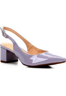Scarpin Shoestock Salto Baixo Verniz Bico Fino - Feminino-Lilás