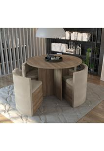 Sala De Jantar Nira Com Mesa Redonda E 4 Cadeiras Kappesberg - Nogal/Bege