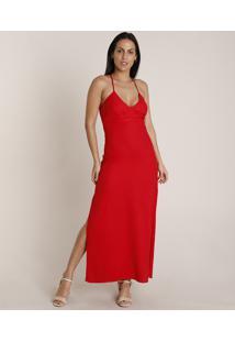 Vestido Feminino Longo Com Fenda Alça Fina Decote V Vermelho