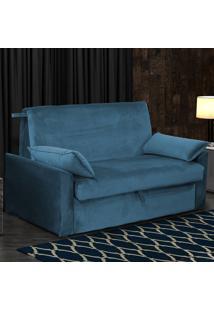 Sofá Cama Matrix Cristal 00509.0433 2 Lugares Com Baú Azul Escuro