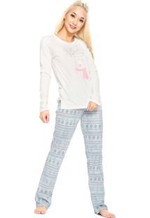 Pijama Cor Com Amor Étnico Bege/Azul