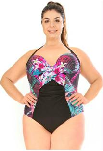 Maiô Com Bojo Plus Size Acqua Rosa Tropical