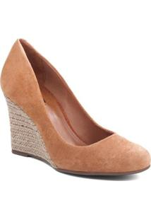 Sapato Anabela Em Couro- Marrom Claro & Bege Claro- Arezzo & Co.