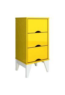 Mesa De Cabeceira 3 Gav. Twister Amarelo/Branco Tcil Móveis