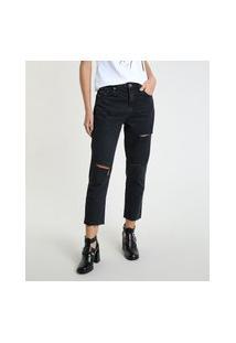 Calça Jeans Feminina Mom Cropped Cintura Alta Com Rasgos Preta
