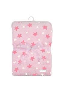 Cobertor De Poliéster - 80X110 Cm - Estrelinhas - Rosa - Tip Top