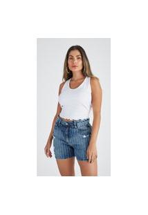 Bermuda Jeans Zait Mom Paloma Azul Marinho