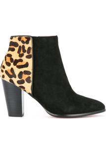Loveless Ankle Boot Com Detalhe De Estampa De Leopardo - Preto