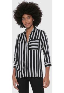 Camisa Malwee Listras Preta/Cinza