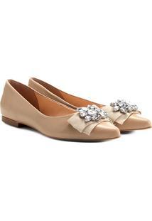 Sapatilha Couro Shoestock Bico Fino Cristal Feminina - Feminino-Nude