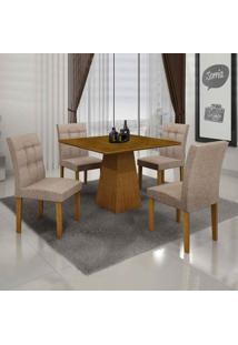 Conjunto De Mesa Com 4 Cadeiras Itália Iii Linho Imbuia Mel E Bege