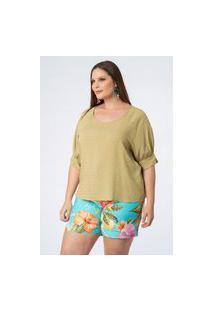 Blusa Almaria Plus Size Munny Bata Poá Devorê Verde