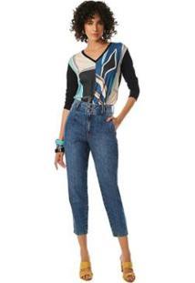 Calça Maria. Valentina Cenoura Cós Alto Bolso Embutido Jeans Feminina - Feminino
