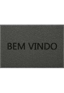 Capacho Em Pvc Vinil Bem Vindo 40X60Cm Cinza