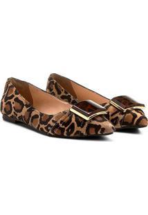 Sapatilha Couro Shoestock Fivela Onça Feminina - Feminino-Onça