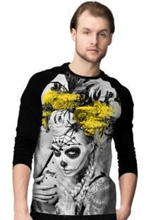 Camiseta Manga Longa Stompy Catrina Masculina - Masculino-Preto