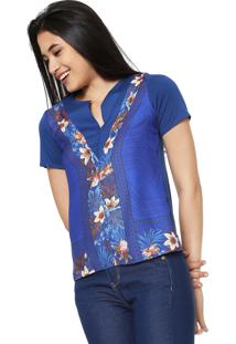 Blusa Malwee Estampada Azul
