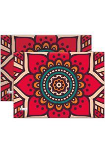 Kit 2Pçs Jogo Americano Mdecor Abstrato 40X28Cm Rosa