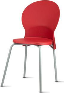 Cadeira Luna Assento Vermelho Base Cinza - 53821 Sun House
