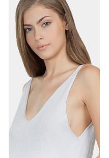 Blusa Com Alças Em Tricô Prata - Lez A Lez