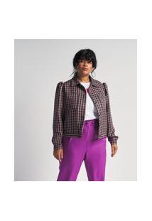 Jaqueta Tweed Xadrez Vichy Curve E Plus Size Multicolorido