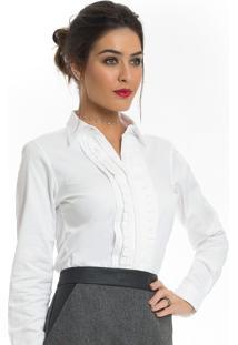 367f01179 10 Ir para a loja; Camisa Feminina Branca Com Drapeado Principessa Benita