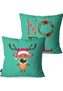Kit Com 2 Capas Para Almofadas Pump Up Decorativas Rena De Natal Estilo Desenho Infantil 45X45Cm - Verde - Dafiti
