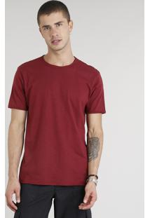 Camiseta Masculina Manga Curta Gola Careca Vinho