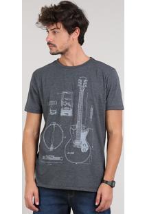 Camiseta Masculina Guitarra Manga Curta Gola Careca Cinza Mescla Escuro