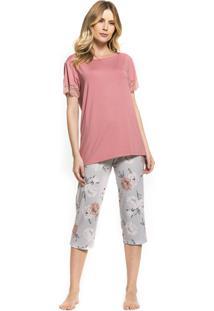 Pijama Inspirate Capri Com Estampa Garden Rosa