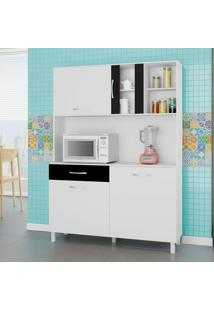 Cozinha Compacta Viena 4 Pt 1 Gv Branco E Preto 120Cm