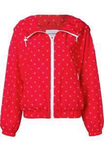 Calvin Klein Jeans Monogram Print Bomber Jacket - Vermelho