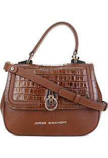 Bolsa Couro Jorge Bischoff Estruturada Feminina - Feminino-Marrom Escuro
