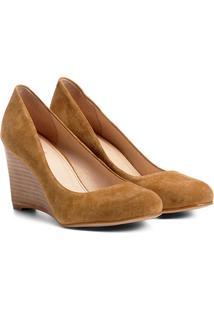 Scarpin Couro Shoestock Anabela Bico Redondo - Feminino-Caramelo