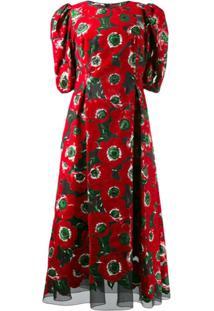 Dolce & Gabbana Vestido Com Estampa Anemone - Vermelho